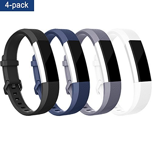4Pcs Fitbit Alta HR Bands / Fitbit Alta HR Bands for Women and Men, Smooth TPU Classic Accessory Band Wristband for Fitbit Alta / Fitbit Alta HR, Large, Black+Blue+Gray+White by Tobfit