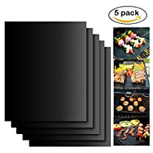 Lysport High Quality BBQ Grill & Baking Mats Perfect for Charcoal, Electric and Gas Grill Non-Stick, Reusable Easy to Clean Grill Pad Safe 16'' x 13'' Set of 5, Black
