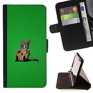 BullDog Case - FOR/HTC One M8 / - / rat sweet chees lonely rodent cartoon comic /- Monedero de cuero de la PU Llevar cubierta de la caja con el ID Credit Card Slots Flip funda de cuer