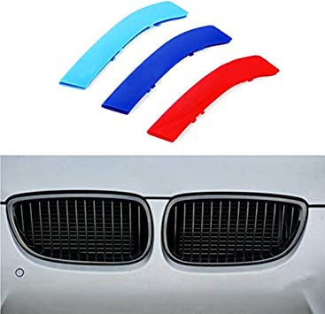 8X-SPEED for BMW X6 E71 E72 2008-2011 3D Car Styling M Front Grille 3 Colors Insert Trim Motorsport Grill Stripes Cover M Performance Sticker for BMW M Accessories