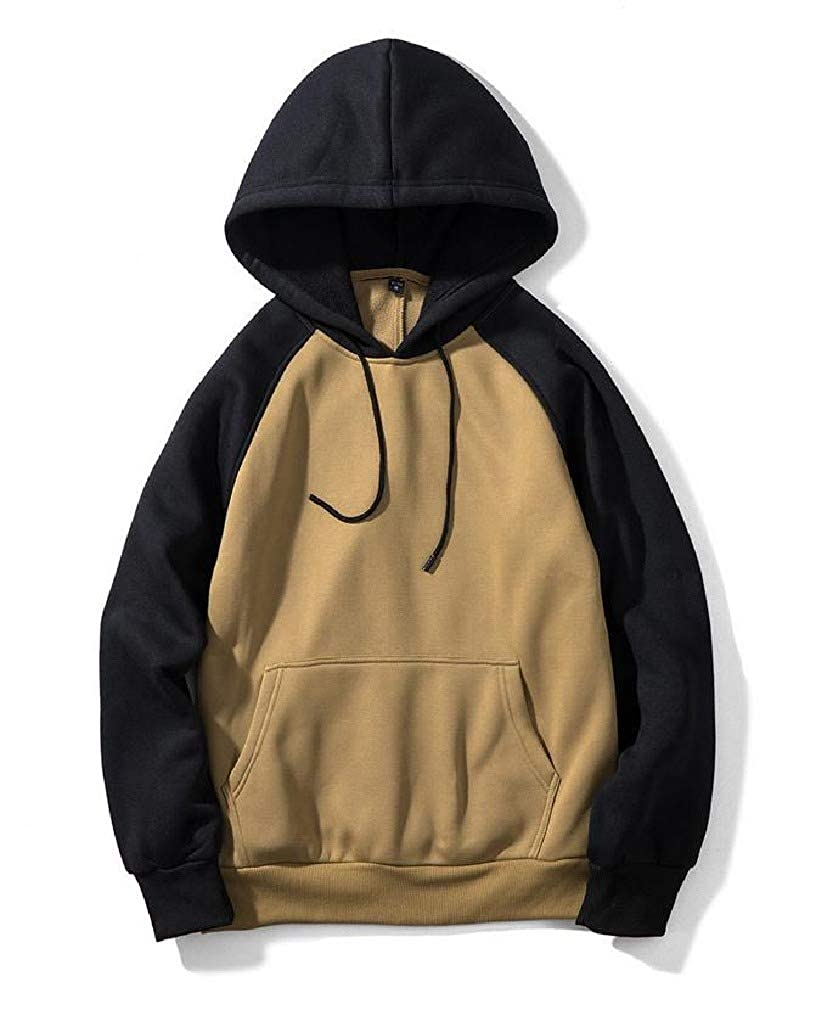 Smallwin Mens Long Sleeve Pullover Solid Sports Hooded Pocket Sweatshirts