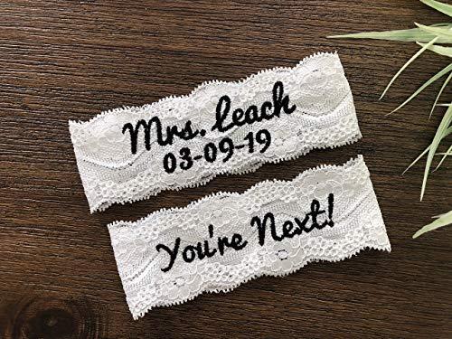 Embroidered Lace Wedding Garter Set of 2, Bridal Garter,toss garter, nice catch, Custom Size Garter, bride gift,