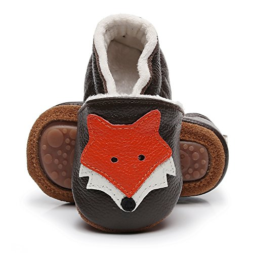 HONGTEYA Baby Moccasins with Fur Fleece Rubber Soles Warm Snow Boots Leather Baby Shoes for Boys Girls (0-6m/4.53