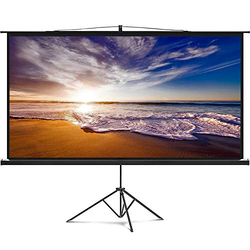 Delux Screens 60″ Portable Projector Screen with Stand | 60 inch | Adjustable Tripod and Wall | 16:9 Format | 14 lbs Heavy Duty | for Mobile Presentation and Home Entertainment |4K Ultra HD Ready
