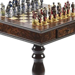 King Arthur the Legend of Camelot Hand Painted Chessmen & Frizoni Chess Table from Italy
