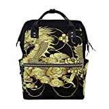 Best Legend Laptop Backpacks - Backpack Chinese Legends Gold Dragon Black Large Capacity Review