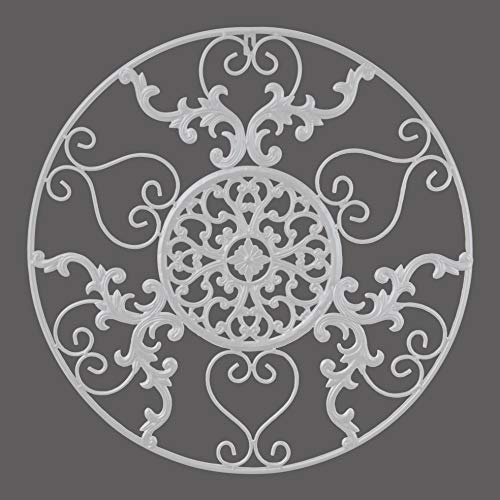 GB HOME COLLECTION gbHome GH-6775W Metal Wall Decor, Decorative Victorian Style Hanging Art, Steel Decor, Circular Medallion Design, 23.5 x 23.5 Inches, White Circle