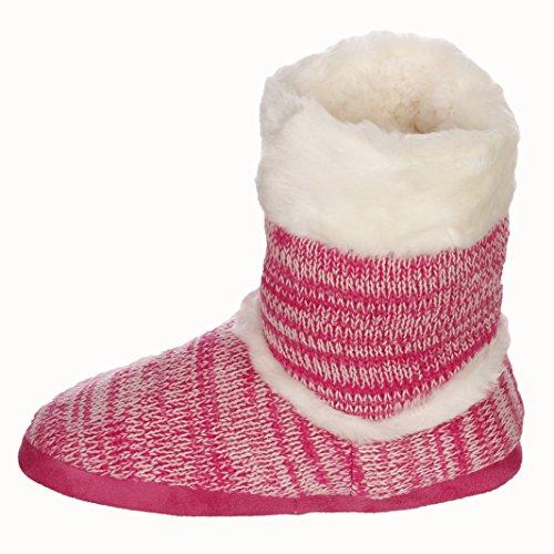 Emmalise Womens Slipper Boots Indoor Lounge Bontschoenen Bont Boots Voor Dames Heather Pink
