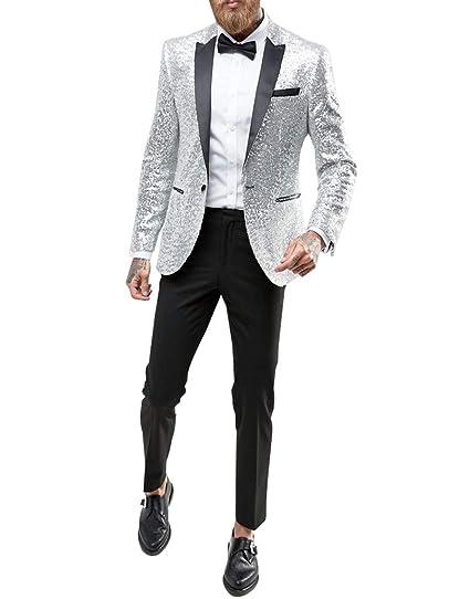 Judi Dench Giacca da Uomo con Un Bottone 1 Pezzi e Brillantini con  Paillettes Glitterati  Amazon.it  Abbigliamento f213dc1c01e