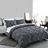 queen duvet cover grey - Ucharge Unique Pinch Pleat Pintuck Duvet Cover Set,3 Pieces Decorative Stylish Brushed Microfiber Bedding Set With Zipper and Corner Ties (Queen Dark Grey)