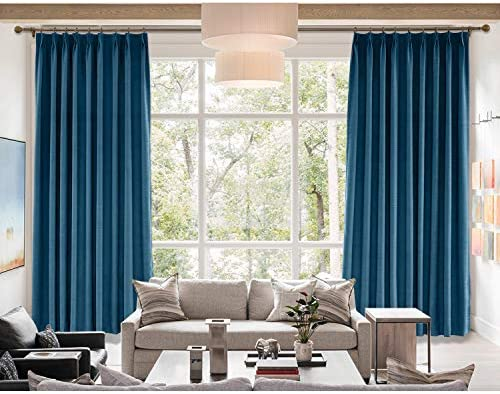 cololeaf Extra Wide Blackout Linen Curtain,Themal Insulated Pinch Pleated Nursery Infant Care Curtains