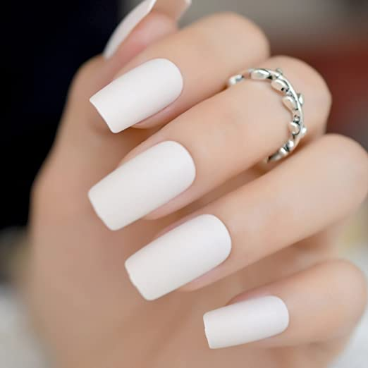 Amazon.com: CoolNail off White Squoval Matte Fake False Nail Tips Flat Top Froseted Medium Long Artificial Nails Bride Office Daily Wear Unghie Finte: ...