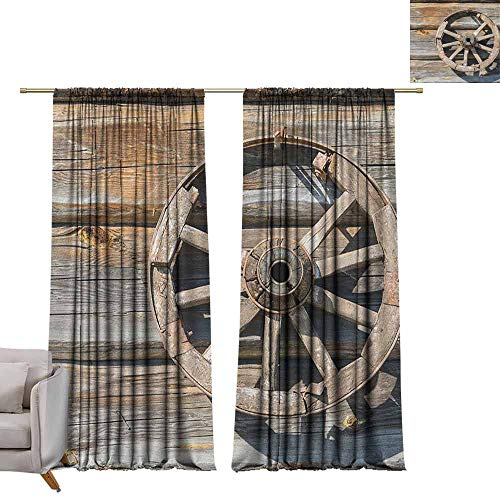Bedroom Curtains Barn Wood Wagon Wheel,Old Log Wall with Cartwheel Telega Rural Countryside Themed Image, Umber Beige W84 x L108 Printed Window Curtains for Kitchen (Classic Wagon Cartwheels)
