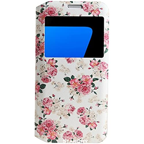 StarCity Premium Slim Flip Window View Cover Folio Case with Magnetic Closure for Samsung Galaxy S7 Edge (Flower Rose) Sales