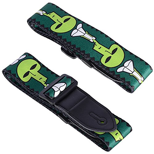Colorful Fashion Guitar Strap Guitar Belt (Green Skull) - Travel Guitar Strap