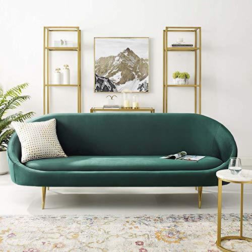 Modway Sublime Vertical Curve Back Performance Velvet Sofa, Green (Sofas Curved)