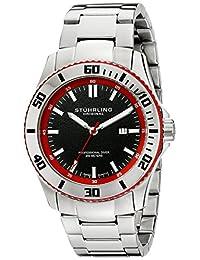 Stuhrling Original Men's 714.04 Aquadiver Regatta Bermuda Swiss Quartz Professional Diver Red Accent Stainless Steel Link Bracelet Watch