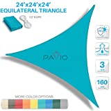 Patio Paradise 24' x 24' x 24' Turquoise Green Sun Shade Sail Equilateral Triangle Canopy - Permeable UV Block Fabric Durable Outdoor - Customized Available