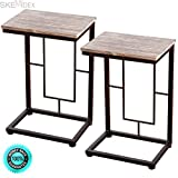 SKEMiDEX-2PCS 21.7'' Wood Coffee Tray Side Sofa End Table Couch Stand Lap Antique Finish. Can be used as end tables, lamp tables, decorative displays tables, or simply accent pieces