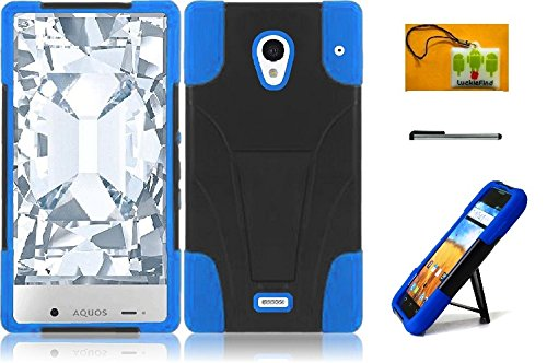 LF 3 in 1 Bundle - Hybridy Dual Layer Case with Stand, Lf Stylus Pen & Droid Wiper Accessory for (Sprint) Sharp Aquos Crystal (Stand Blue) (Sharp Aquos Crystal Keyboard compare prices)
