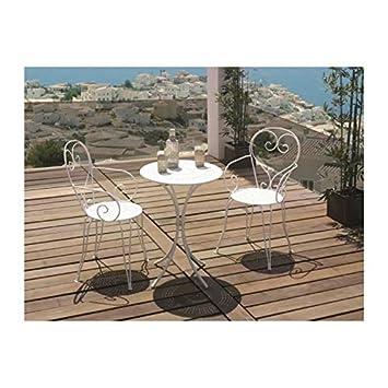 Set Table de jardin romantique en fer forgé 60 cm + 2 fauteuils ...
