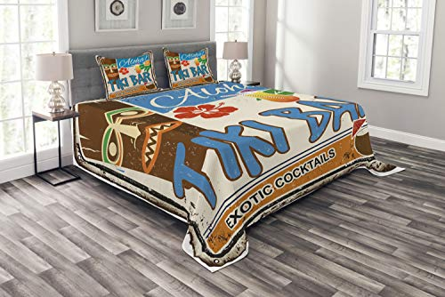 - Ambesonne Tiki Bar Bedspread Set Queen Size, Rusty Vintage Sign Aloha Exotic Cocktails and Coconut Drink Antique Nostalgic, 3 Piece Decorative Quilted Coverlet with 2 Pillow Shams, Multicolor