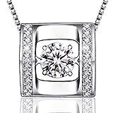 MUATOGIML 925 Sterling Silver Dancing Stone Square Pendant Necklace, Box Chain 18''