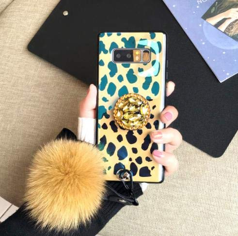 (Samsung Note 8 Bling Fur Ball Case with Ring Stand,Aulzaju Galaxy Note 8 Luxury Shiny Marble Soft Shockproof Hybrid Fashion Case for Samsung Note 8 for Girls Women(samsung galaxy note 8, Leopard) )
