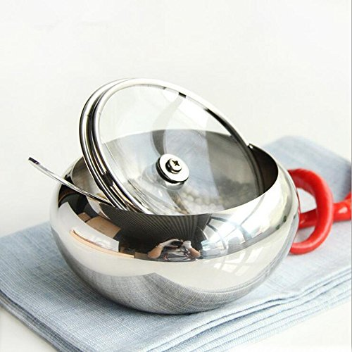 Sissiangle Sugar Bowl, Stainless Steel Sugar Bowl with Toughed Glass Lid (for clearly recognize volume) and Sugar Spoon, Drum Shape, 12.7 ouces (560 Milliliter) by Sissiangle (Image #3)