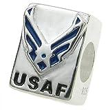 925 Sterling Silver USAF America Air Force Blue Enamel European Bead Charm