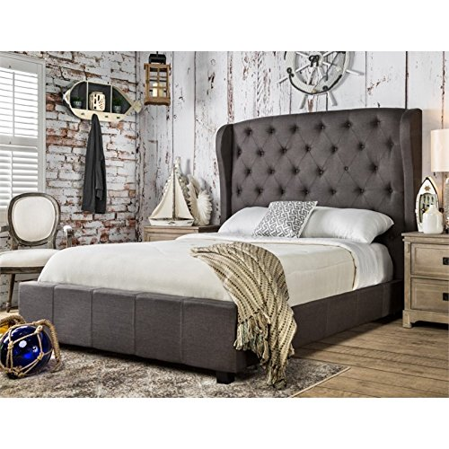 (Furniture of America Callista Flax Fabric Bed with Wingback Tufted Headboard Design, Eastern King, Gray)