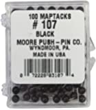 Moore Push-Pin Map Tacks, Black, 100 Tacks