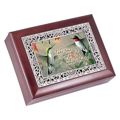 (Cottage Garden Take Time Enjoy The Simple Things Rosewood Jewelry Music Box Plays Wonderful World)