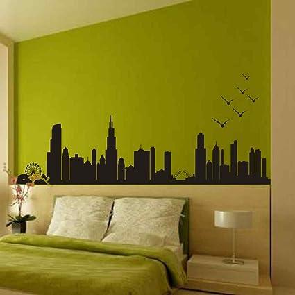Amazon.com: BATTOO Chicago Skyline Silhouette - Wall Decal Custom ...