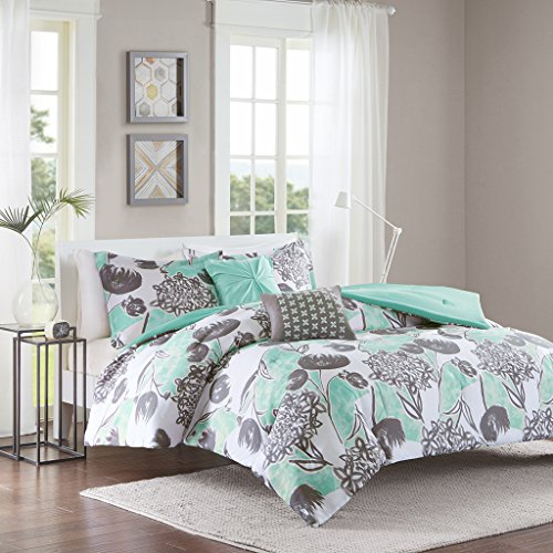 Intelligent Design Marie Comforter Set Full/Queen Size - Aqua, Grey, Brushed Floral – 5 Piece Bed Sets – Ultra Soft Microfiber Teen Bedding for Girls Bedroom Black Friday & Cyber Monday 2018
