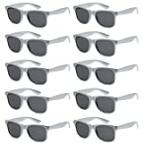 WHOLESALE UNISEX 80'S RETRO STYLE BULK LOT PROMOTIONAL SUNGLASSES - 10 PACK (Sterling Silver / Smoke, 52 mm)