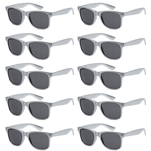 WHOLESALE UNISEX 80'S RETRO STYLE BULK LOT PROMOTIONAL SUNGLASSES - 10 PACK (Sterling Silver / Smoke, 52 ()
