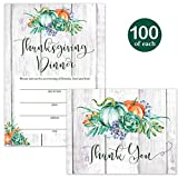 Thanksgiving Feast Invitations ( 100 ) & Thank You Notes ( 100 ) Matched Set with Envelopes Large Group Family Friends Church Gathering Autumn Turkey Dinner Invites & Folded Thank You Cards Best Value