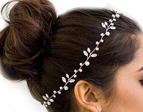 Missgrace Women's Wedding Headband -Fashion Crystals Bridal Headband Wedding Headpiece (Vine Bead Cap)