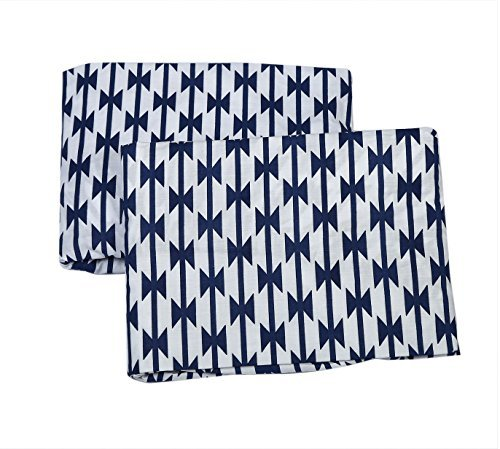 Bacati Aztec Kilim 2 Piece Crib/Toddler Bed Fitted Sheets Cotton Percale Navy [並行輸入品]   B07J5SC7LV