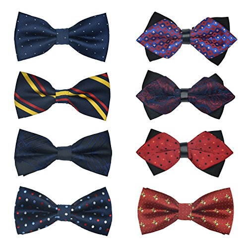 8 PACKS Elegant Men's Adjustable Pre-tied bow ties for Men Boys in Various Colors … (STYLE 7) ()