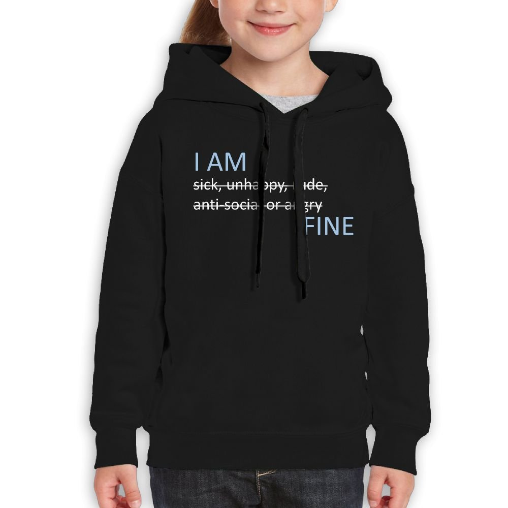 Children's Pullover Sweatshirt Hooded Cotton I Am Fine Printed For Boys Girls