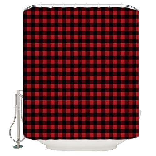 Red Black Buffalo Plaid Shower Curtains Rustic Style Shower Curtain Collections Polyester Waterproof Fabric Bath Tub Curtains Home Hotel -