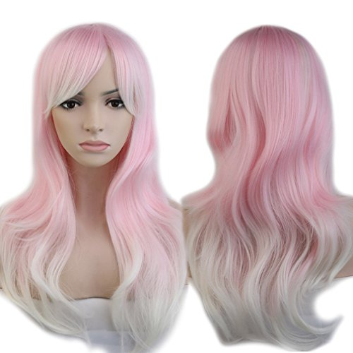 Anime Cosplay Wig Pink Ombre 2 Tone Colors Heat Resistant Fiber Full Wig with Bangs Long Layered Natural Wave Curly Wavy Synthetic Costume Wig Dip-dye 23'' / 58cm for Women Girls(Pink White (Adult Short Pink Wig)