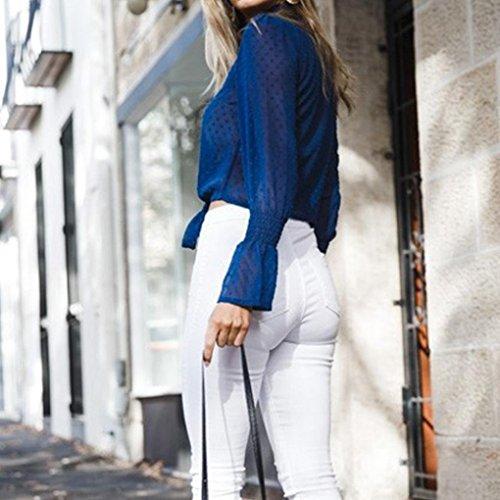 roul Col Routinfly Chemisier Fleurs Bleu Femme 7qOTxnzxwS