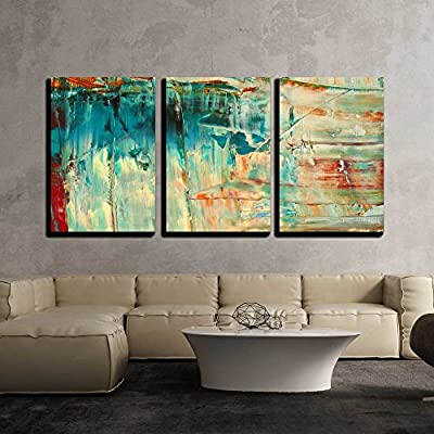 3 Piece Canvas Wall Art - Abstract as Background - Modern Home Art Stretched and Framed Ready to Hang - 24