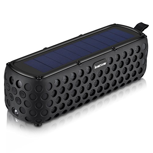 HOMTSSAW Bluetooth Speakers 30-Hour Playing time Portable Speaker with Splash proof Solar-Charged Wireless Stereo Bluetooth 4.0 Loudspeaker Splash Shock for all outdoor sports (Black)