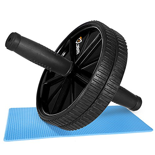 """JBM Abdominal Wheel Roller Abwheel Abroller Ab Core Trainer Equipment Dual Wheels Rubber Handle Anti Slip for Exercise Workout Gym Fitness Crossfit - 440lbs Capacity (Black, 10"""" x 7"""" x 7"""")"""