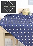 "100% Pvc, Hand Washable, Dinner, Summer & Picnic Oilcloth Tablecloth 55 Inch,69 Inch -2 Colors (Navy, 69""x43"")"