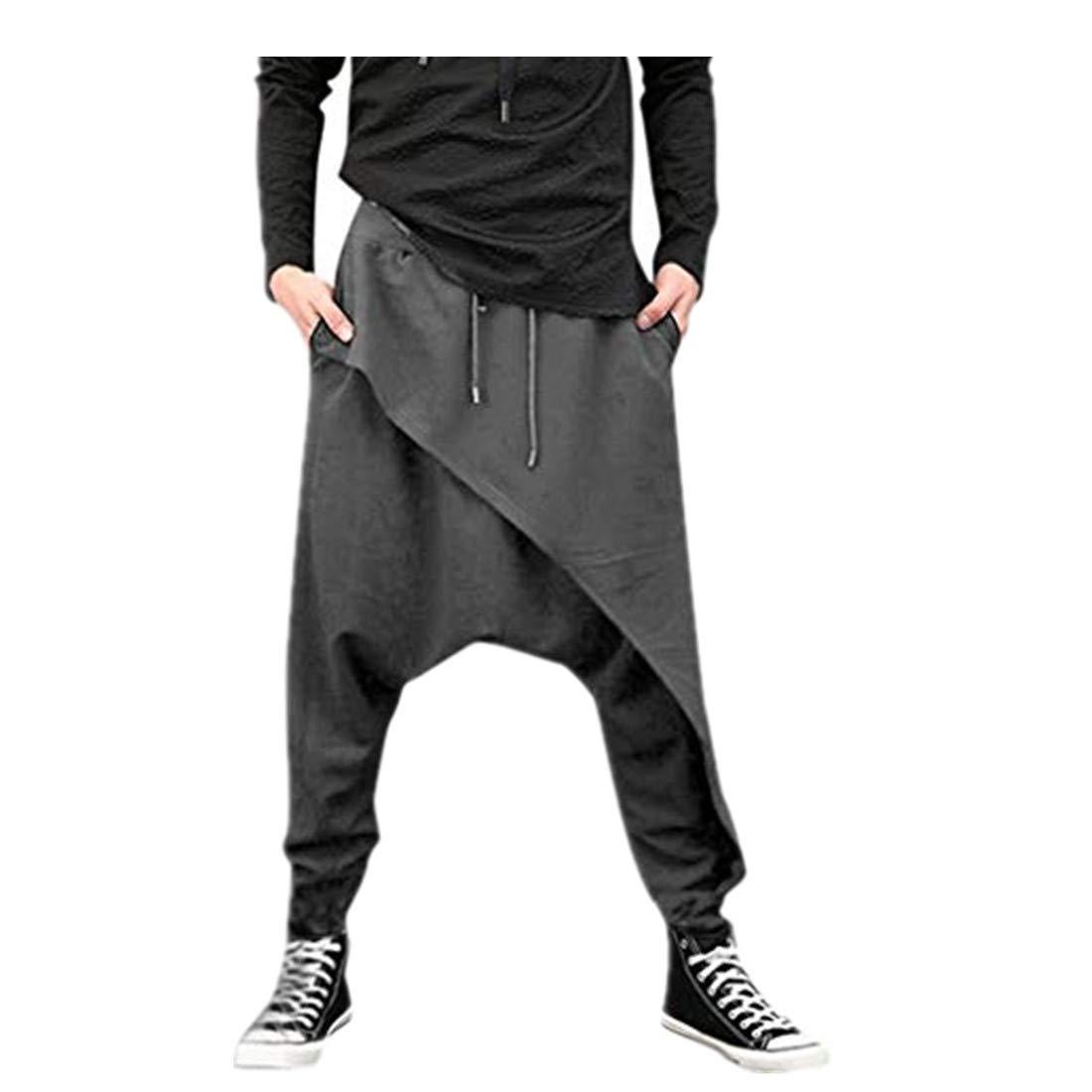 Inverlee Mens Casual Harem Pants Irregular Hem Loose Solid Color Yoga Hip Hop Pants Cotton+Spandex